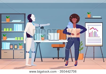 Robot Kicked Human Away From Work Modern Robotic Character Replacing Businesswoman Artificial Intell