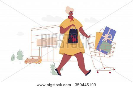 Senior Woman With Shopping Bags. Modern Female Funny Character Design Over The Mall And Car Linear I