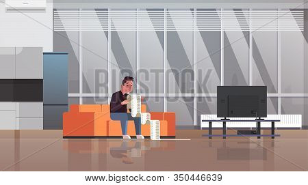 Stressed Man With Long Tax Document Debtor Shocked By Payment Bills Financial Crisis Bankruptcy Conc