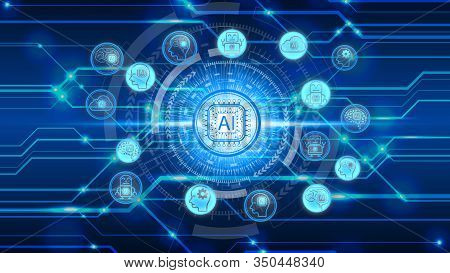 Artificial Intelligence (ai) Technology Icon Over The Network Connection, Artificial Intelligence Te