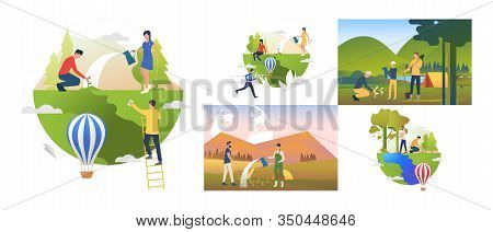 Forest Rehabilitation Set. Volunteers Planting Trees At Camps Outdoors. Flat Vector Illustrations. G