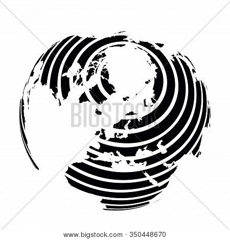 Striped Earth Globe Focused On Europe And Antarctica With North Pole. Black Vector Illustration