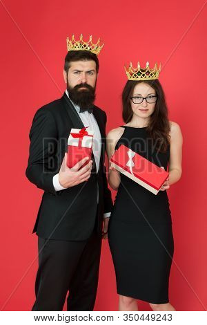Best Employee Reward And Recognition. Bearded Man And Sexy Woman Got Reward. King And Queen Couple.