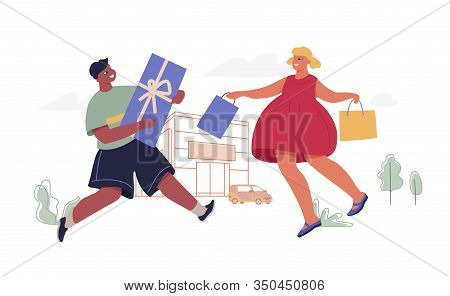 Kids With Shopping Bags And Gift Box. Modern Funny Character Design Over The Mall And Car Linear Ill