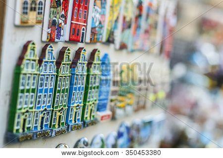 Gdansk, Poland - 23 August 2019: Rows Of Fridge Magnet Souvenirs From Gdansk Displayed On Stillage