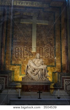 The Pieta - sculpted by Michelangelo in St. Peter's Basilica. Rome Italy. poster
