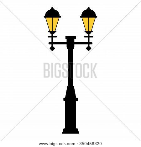 Street Light Black Silhouette Isolated On White Background. Set Of Modern And Vintage Street Lights.