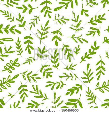 Seamless Spring Pattern. Simple Green Leaves And Twigs On A White Background. Vintage Print For Text