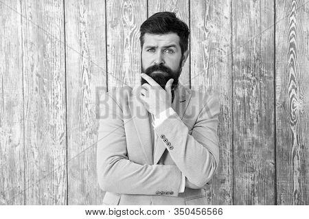Beard And Mustache. Guy Well Groomed Handsome Bearded Hipster Wear Tuxedo. Gentleman Style Barber. B