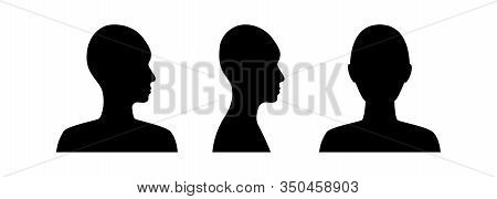 Front And Side View Silhouette Of A Head. Anonymous Gender Neutral Face Avatar.