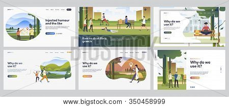 People Spending Weekend Outdoors Set. Hiking, Fishing, Camping, Leisure In City Park. Flat Vector Il