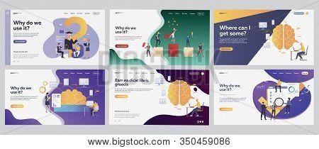 Successful Startup Ideas Set. Businesspeople Studying, Winning Prize, Brainwork. Flat Vector Illustr
