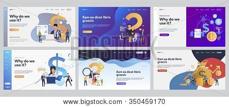 Financial Consulting Set. Business Team Consulting Expert, Money, Cash. Flat Vector Illustrations. B