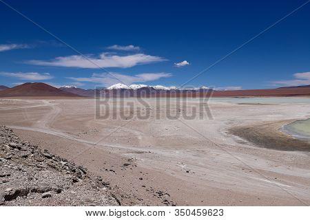 The Plain Between The Laguna Verde And The Laguna Blanca, Bolivia. Desert Landscape Of The Andean Hi