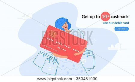 Happy Smiling Woman Hugging Big Red Bank Card. Flat Modern Concept Vector Illustration Of People Who
