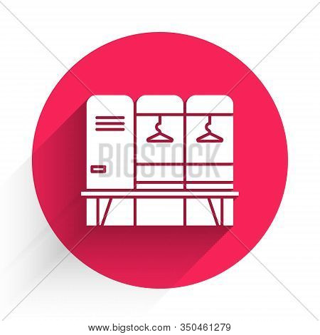 White Locker Or Changing Room For Hockey, Football, Basketball Team Or Workers Icon Isolated With Lo