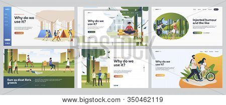 Healthy Recreation Set. People Walking In Park, Camping, Riding Bikes. Flat Vector Illustrations. Ou