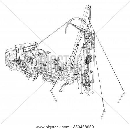 Oilfield Coiled Tubing Equipment. Coiled Tubing Reel On A Trailer. The Layers Of Visible And Invisib