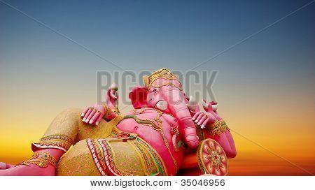 Ganesha Statue With Sunset Background