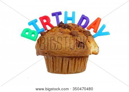 Chocolate Chip Muffin with Birthday Candles. Birthday Donut. Isolated on white. Room for text. Clipping path. Birthday Muffin for someone special.