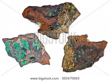 pyrite and malachite minerals isolated on white background