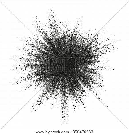 Pointillism Burst Dots Pattern. Sunburst Abstract Monochrome Dotted Geometric Halftone. Eps 10