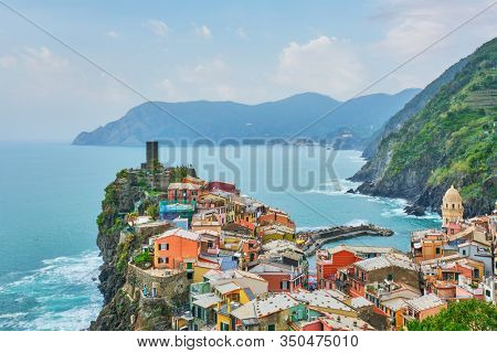 Vernazza village popular tourist destination in Cinque Terre National Park a UNESCO World Heritage Site, Liguria, Italy on sunset view from south