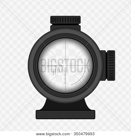 Realistic Sniper Sight With Measurement Marks. Sniper Scope Template Isolated On Transparent Backgro