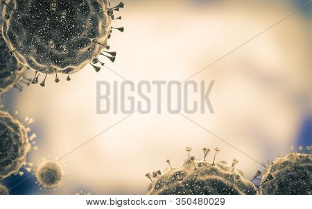Close-up Of Virus Cells Or Bacteria. Flu, View Of A Virus Under A Microscope, Infectious Disease. Ge