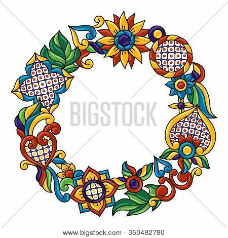 Frame With Mexican Talavera Pattern. Decoration With Ornamental Flowers. Traditional Tile Decorative