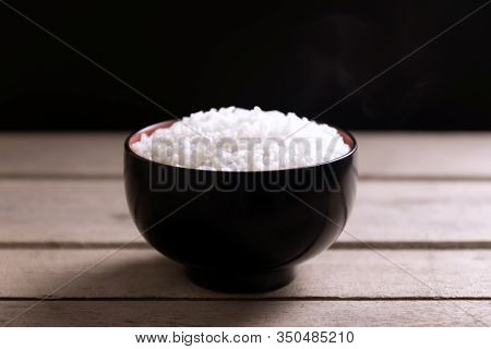 White Rice In Black Bowl On Wooden Background, Still Life Tone, Rice From Asia, Rice Food Of Asian S