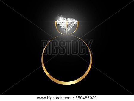 Vector Dazzling Diamond Ring On Black Shining Background. Concept For Chossing Best Diamond Gem Desi
