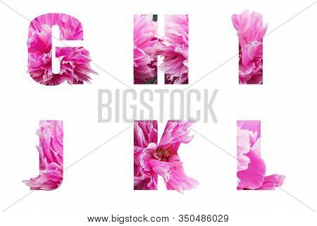 The English Alphabet Letters G H I J K L Of Their Pink Peony Flowers Isolated On White.floral Letter