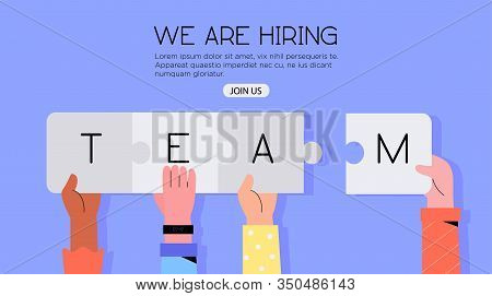 Different Hands Holding Jigsaw Puzzle With A Word Team. Concept Or We Are Hiring Or Join Our Team Ba