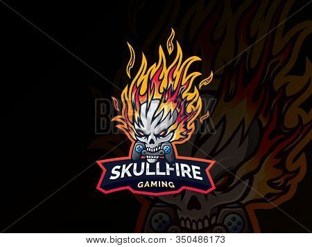 Skull Fire Logo Design. Skull Template Design Emblem For Sport Or Esports Team, Devil Skull Logo Esp