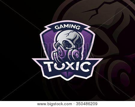 Skull Logo Design. Respirator Skull Template Design Emblem For Sport Or Esports Team, Skull Mask Log
