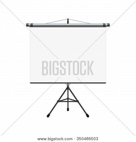 Empty Projection Screen, Presentation Board In Realistic Style. Horizontal Roll Up Banner Isolated O