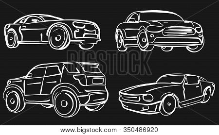 Car Simple Illustration, Modern Automobile Silhouette, Front View Outline, Line Design. Vector