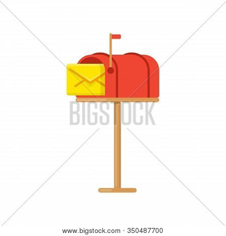 Simple Mail Box Isolated On White Background. Open Red Mailbox With Yellow Envelope. Flat Post Offic