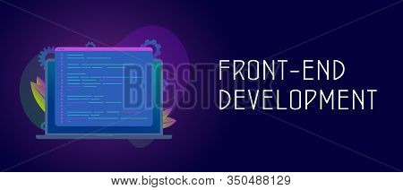 Front-end Development Vector Concept With Laptop And Javascript Or Html Code Window. Header Or Foote