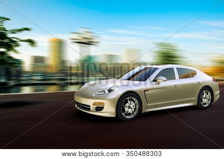 3d Rendering Of A Sport Car At Fast Speed In Front The Skyline Of Baltimore