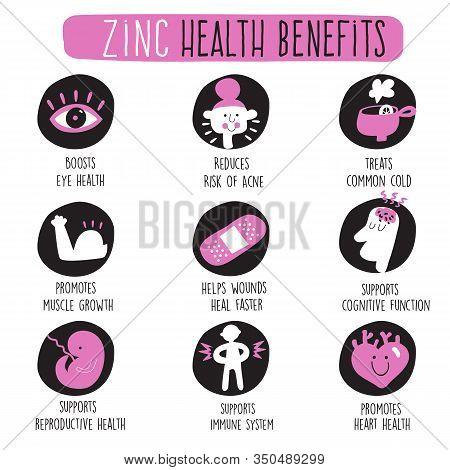 Zinc Health Benefits. Vector Cartoon Icons Set.
