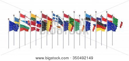Withdrawal From The European Union , United Kingdom , 27 Flags Of Countries Of European Union. Isola