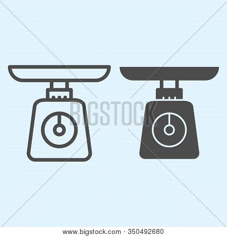 Weight Scales Line And Solid Icon. Domestic Weighing Scale Machine. Home-style Kitchen Vector Design