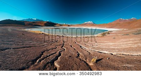 Panorama of the salty lake in Bolivian Altiplano with dry desert and cracked soil around
