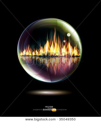 Vector Glass bowl with a flame inside on a black background