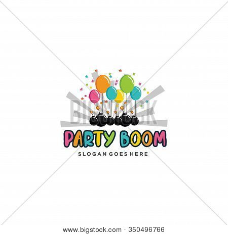 Boom Party Logo Design Inspiration . Party . Creative Party Boom Logo Design Vector Art Logo Stock .