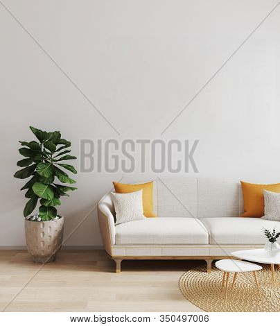 Modern Living Room With White Sofa. Bright Living Room Mockup. Scandinavian Style, Stylish, Cozy Liv