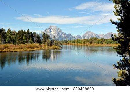 Beautiful View Of Jackson Lake In The Jackson Hole Valley In The  Grand Teton Park