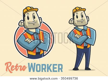 Retro Muscular Construction Worker Character, Vintage Strong Builder Mascot, Confidence And Big Man